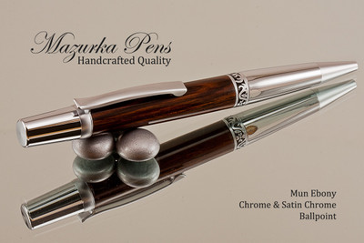 Handmade wood pen made from Mun Ebony with Chrome / Satin Chrome.  Handcrafted pen by our artist.  Tip view of pen .