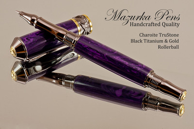 Handmade Rollerball Pen Handcrafted from Charoite TruStone with Black Titanium and Gold finish.  Main view of pen and cap.