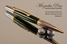 Handmade Ballpoint Pen made from Green / Black Ebonite with Black Titanium / Gold finish.  Main view of pen.
