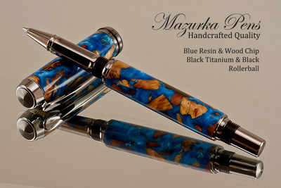 Handmade Rollerball Pen made from Blue Resin / Wood Chips with Black Titanium and Black finish.  Main view of pen and cap.