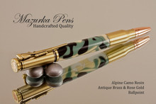 Handcrafted Bolt Action Ballpoint Pen, .30 Caliber Bolt Action Bullet Pen, Alpine Camo Chrome Finish - Looking from Tip of Pen