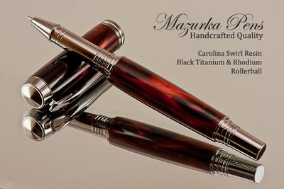 Handmade Rollerball Pen from Carolina Swirl Resin Black Titanium/Rhodium finish.  Main view of pen.