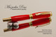 Handmade acrylic pen made from Red Glow resin.  Handcrafted Rollerball Pen - made in our shop, no two alike.  Main view of pen body