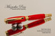 Handmade acrylic pen made from Red Glow resin.  Handcrafted Rollerball Pen - made in our shop, no two alike.