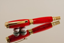 Handcrafted Rollerball Pen Red Glow Resin Gold