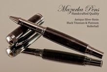 Handmade Rollerball Pen from Antique Swirl Resin Black Titanium/Rhodium finish.  Main view of pen.