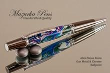 Handmade Ballpoint Pen, Alien Moon Acrylic Resin Pen, Gun metal & Chrome color Finish - Looking from tip of Ballpoint Pen