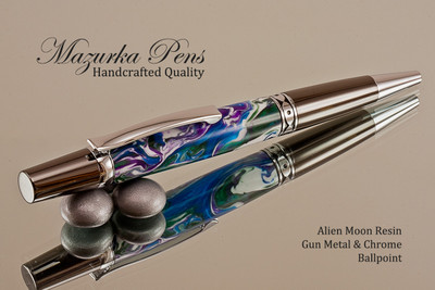 Handmade Ballpoint Pen, Alien Moon Acrylic Resin Pen, Gun metal & Chrome color Finish - Looking from tip of Ballpoint Pen