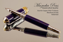Handmade Rollerball Pen handcrafted from Azurite Web TruStone with Rhodium and Gold finish.  Side view of pen and cap.
