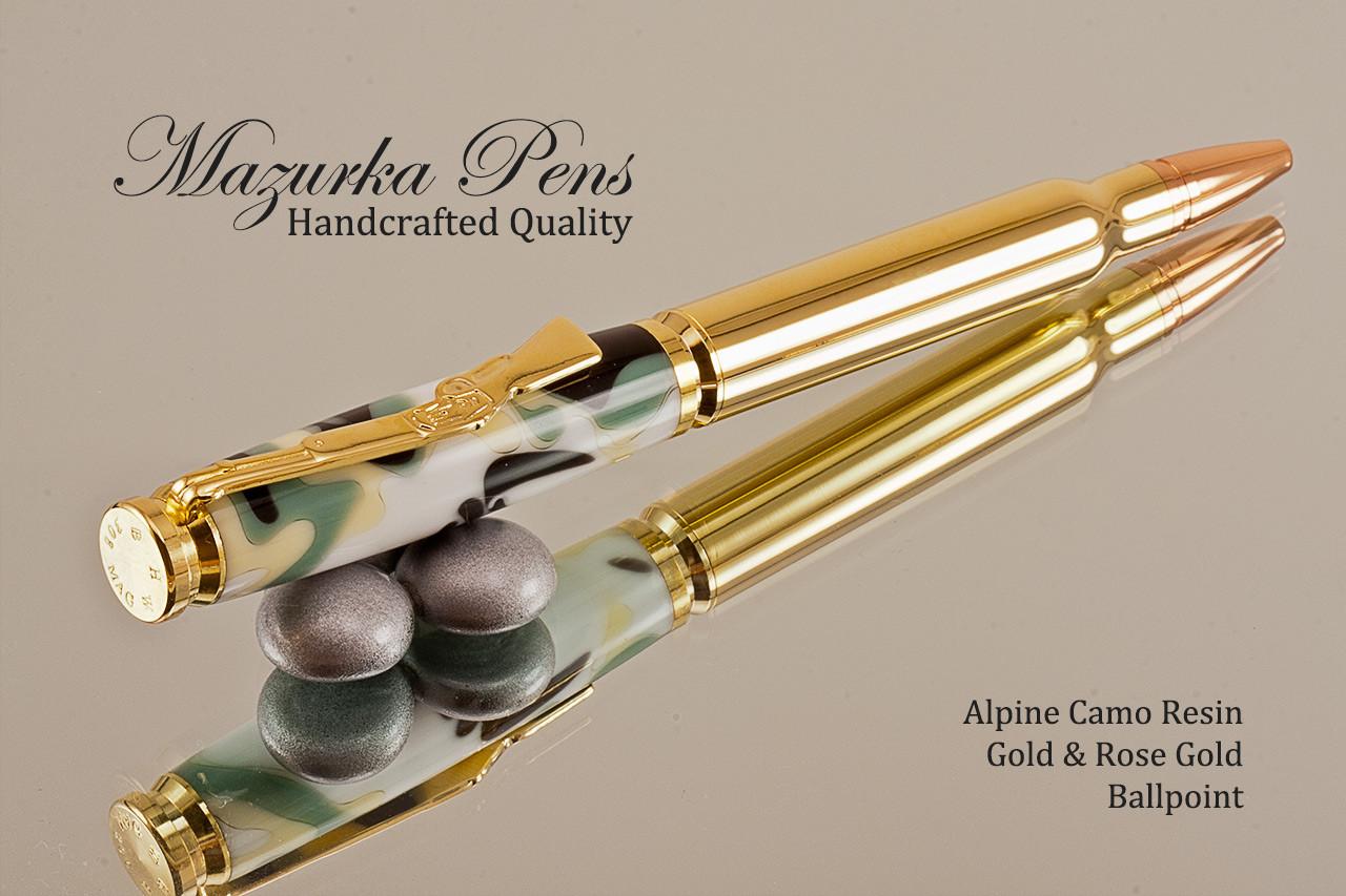Handmade zebra wood .30 caliber bullet pen