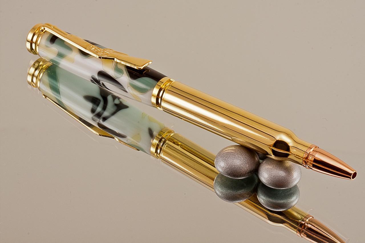 Desert Camo Carbine Ballpoint Bullet Pen ~ bullet acrylic black ink writting pen gun military riffle chrome pen carbine bullet desert camo