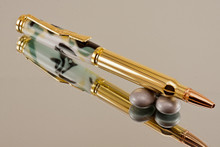Handcrafted Bullet Cartridge Ballpoint Pen, .30 Caliber Replica Bullet Pen, Alpine Camo Resin with Gold / Brass color Finish