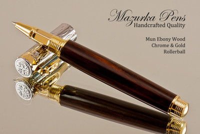 Handmade Rollerball Pen Handcrafted from Mun Ebony with Chrome & Gold finish.