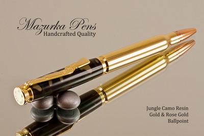 Handcrafted Bullet Cartridge Ballpoint Pen, Jungle Camouflage,  .30 Caliber Replica Bullet Pen, Gold / Brass color Finish