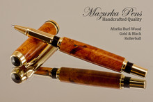 Hand Made Rollerball Pen made from Afzelia wood with Gold and Black finish.