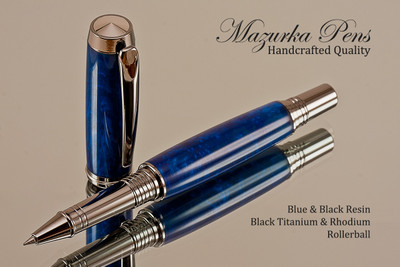 Handmade Rollerball Pen from Blue/Black Resin Black Titanium/Rhodium finish.