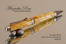 Handcrafted Ballpoint pen made from Boxelder Burl with Black Titanium / Platinum finish.