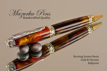 Handmade Ballpoint Pen handcrafted from Burning Sunset Resin with Chrome/Gold finish.