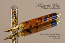 Blue Resin/Big Leaf Maple Burl Rollerball Pen Chrome/Gold