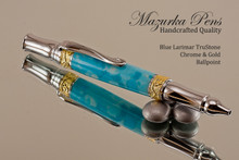Handmade Ballpoint Pen in Blue Larimar TruStone, Chrome & Gold Finish