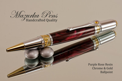 Handmade Ballpoint Pen, Purple Rose Resin with Chrome and Gold Finish