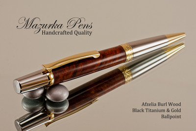 Handmade Ballpoint Pen, Afzelia Burl with Black Titanium and Gold Finish