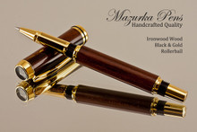 Handmade Rollerball Pen made from Desert Ironwood with Black / Gold trim.  Handcrafted pen by our artist.
