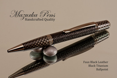 Handmade pen made from Faux Leather with Black Titanium/Faux Carbon Fiber finish.  Handcrafted pen.