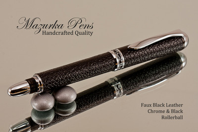 Handmade Rollerball pen made from Faux Leather with Chrome / Black finish.    Stock Picture