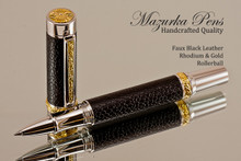 Handmade Rollerball pen made from Black Faux Leather with Rhodium / Gold finish.