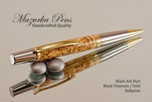 Handcrafted Ballpoint Pen, Black Ash Burl, Black Titanium and Gold Finish