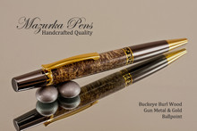 Handmade Ballpoint Pen, Buckeye Burl with Gun Metal and Gold Color Finish