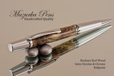 Handmade Ballpoint Pen, Buckeye Burl Wood, Satin Chrome & Chrome Finish