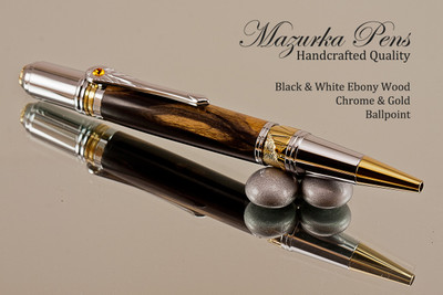 Handcrafted pen made from Black & White Ebony with Chrome / Gold finish.