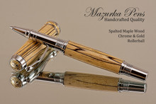 Hand Made Rollerball Pen made from Spalted Maple with Chrome & Gold finish