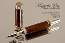 Handcrafted wood pen made from Fiddleback Walnut with Silver and Gold finish.