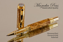 Hand Made Rollerball Pen made from Olivewood Burl with Gold color finish and Chrome highlights.