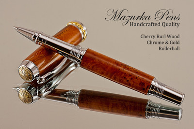 Hand Made Rollerball Pen made from Cherry Burl with Chrome finish and Gold highlights.