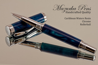 Handmade acrylic pen made from Caribbean Waters poly resin.  Handcrafted Rollerball Pen - made in our shop, no two alike.