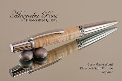 Handmade Ballpoint Pen, Curly Maple Wood, Satin Chrome & Chrome Finish