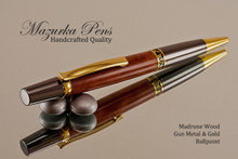 Handcrafted wood pen made from Madrone Burl with Gun Metal / Gold finish.