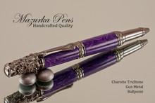 Handmade Ballpoint Pen, Charoite TruStone Victorian Ballpoint Pen, Gun Metal Finish