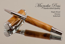 Hand Made Rollerball Pen made from Maple with Chrome finish