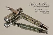 Handmade Rollerball Pen from Shredded Money Resin, Black Titanium and Black Finish.  Main view of pen