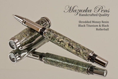 Handmade Rollerball Pen from Shredded Money Resin, Black Titanium and Black Finish.  Main view of pen