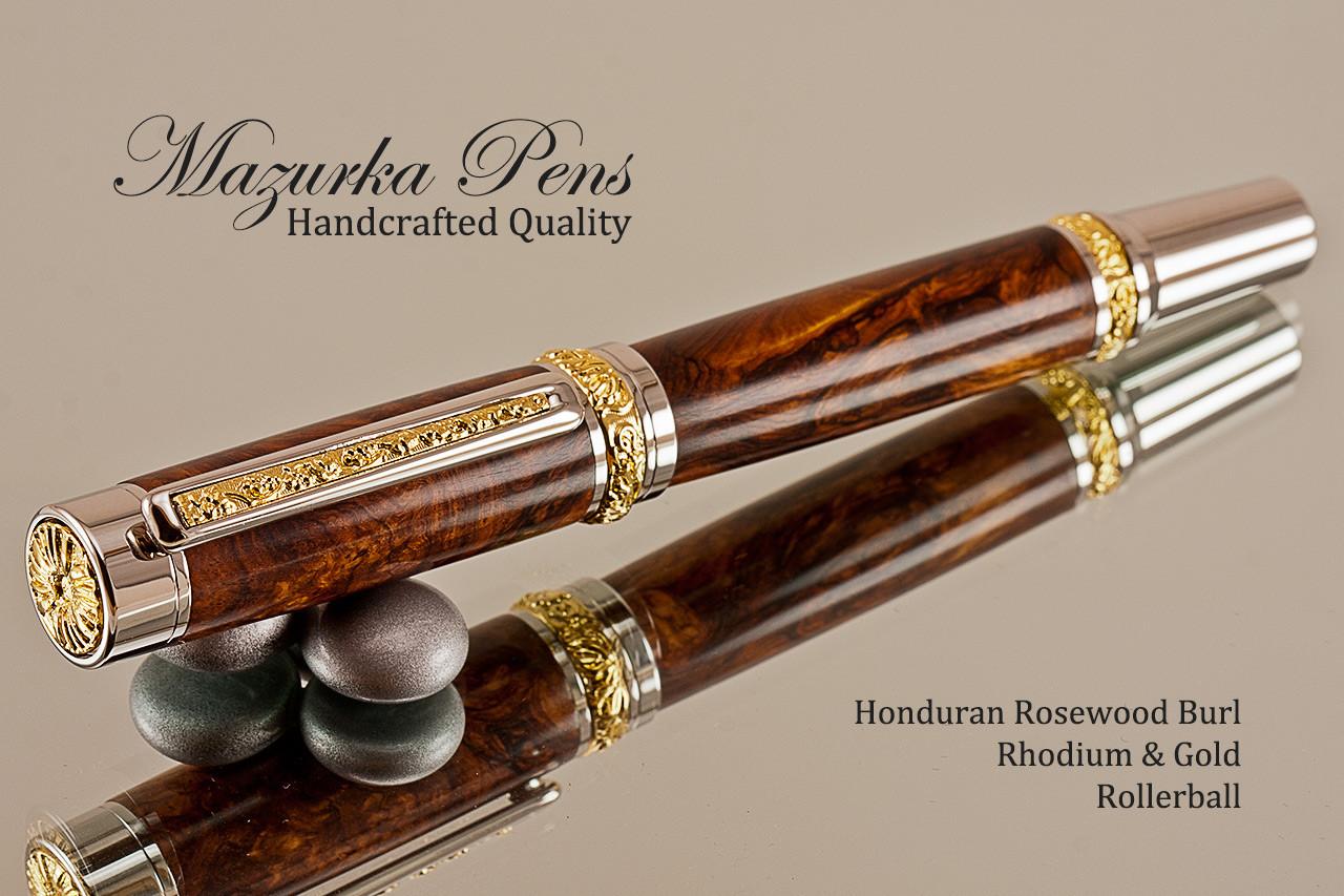 Cigar Ballpoint Pen in Gmelia Burl and Rhodium Plating
