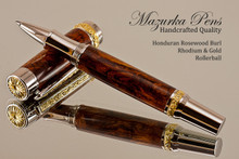 Handcrafted wood pen made from Honduran Rosewood Burl (HRB) with Silver and Gold finish.