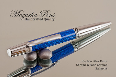 Handmade Ballpoint Pen, Blue Carbon Fiber Resin Pen, Chrome / Satin Chrome Finish