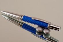 Blue Carbon Fiber Resin Ballpoint Pen Chrome/Satin Chrome