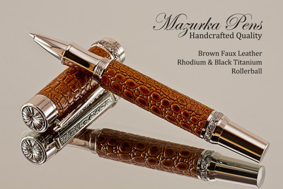 Handmade Rollerball pen made from Brown Faux Leather with Rhodium / Black Titanium finish.   Main view of pen  - Stock Picture